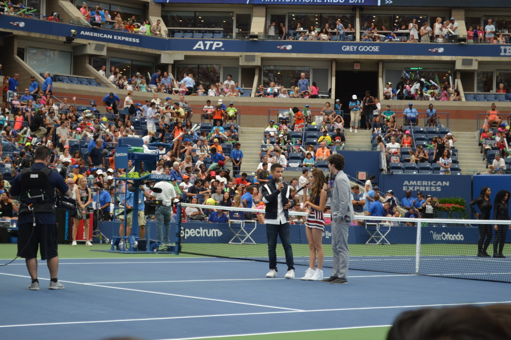Jordan Fisher, Laura Marano, and Joey Bragg at Arthur Ashe Kids' Day 2016  Photo Credit: Kimberly Strong