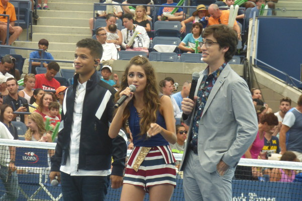 Jordan Fisher, Laura Marano, and Joey Bragg at Arthur Ashe Kids Day 2016  Photo Credit: Mary Ayers
