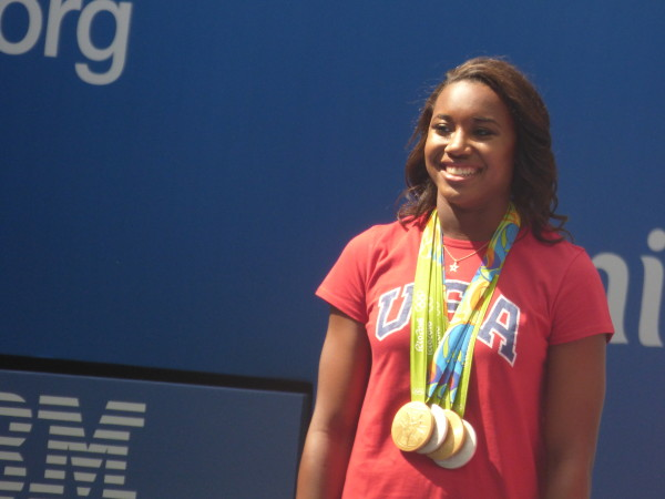 Simone Manuel at Arthur Ashe Kids' Day 2016!  Photo Credit: Mary Ayers