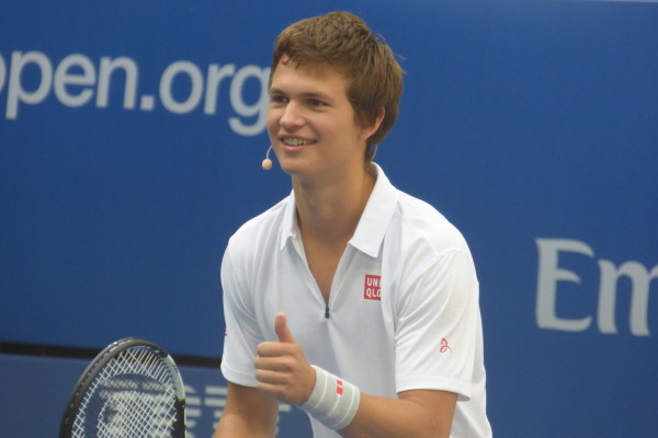 Ansel Elgort shows off his tennis skills on the court at Arthur Ashe Kids' Day 2016!  Photo Credit: Mary Ayers